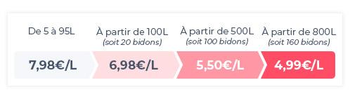 Remises dégressives 6,98€/L à partir de 100L, 5,50€/L à partir de 500L 4,99€/L à partir de 800L