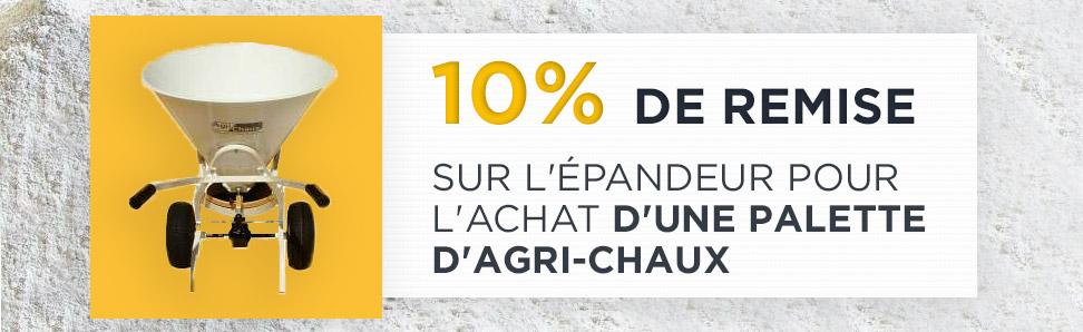 10% de remise sur l'épandeur pour l'achat d'une palette d'agri-chaux